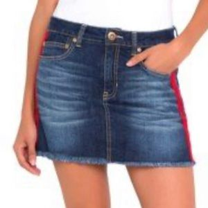 Red Lined Jean Skirt!